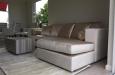 Maatwerk longchair bank op basis van luxe velours stof en design salontafel
