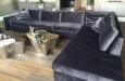 Velours hoekbank met ottoman stuk Style & luxury
