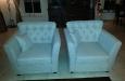 Gecapitonneerde Riviera Maison stijl fauteuils