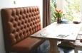 Gecapitonneerde eetkamerbank op maat in luxe lederlook Vintage
