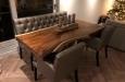 Design stoelen en eetkamerbank in luxe skai stof