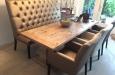Eetkamerset in luxe horeca stof stoelen en eetbank op maat