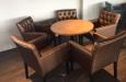 Luxe eetkamerstoelen in skai stof met capitons