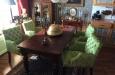 Velours eetkamerstoelen met capitons in alligator velours