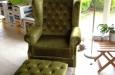 Gecapitonneerde fauteuil in velours stof Lucille